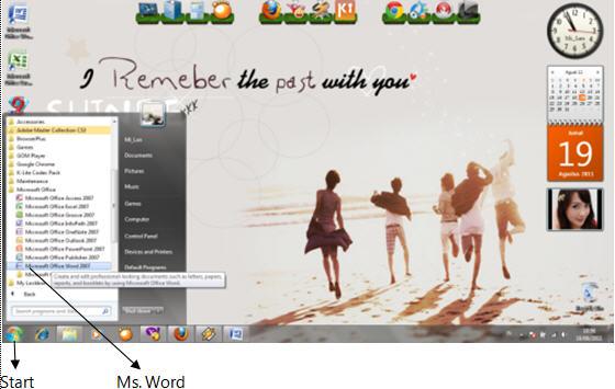 klik start all programs microsoft office microsoft office word