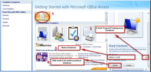 Maka akan tampil area kerja Ms. Access 2007, seperti gambar dibawah ...