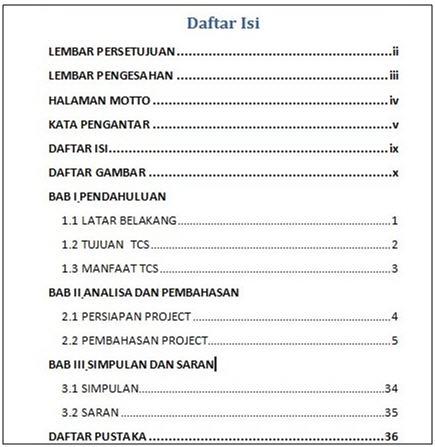 Berikut tampilan daftar isi setelah kita menggunakan fasilitas Table