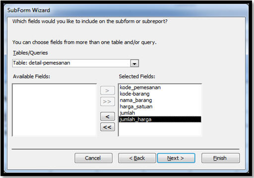 ms access 2007 how to create a subform